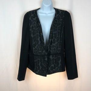 Cynthia Rowley leopard print hook front jacket L